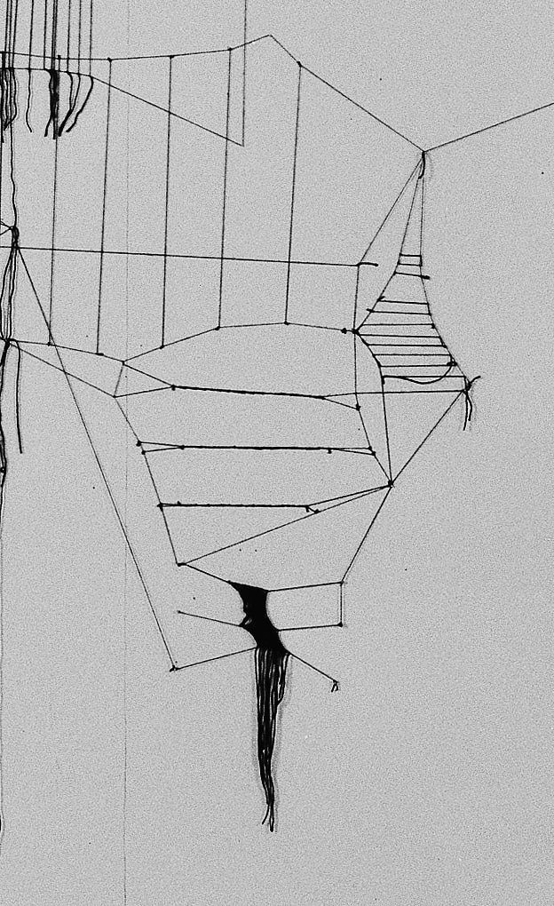 Constellation (système n°1),wall drawing with black wool thread, paper, nails, 3x5m, Lyon, 2010
